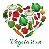 I love vegetarian heart shape emblem Royalty Free Stock Image