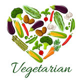 I love vegetarian life symbol of heart vegetables Royalty Free Stock Photos