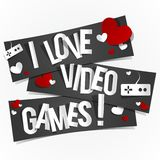 I Love Video Games. Banners vector illustration Royalty Free Stock Image