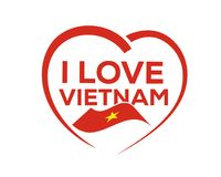 I love vietnam. With outline of heart and flag of vietnam, icon design, isolated on white background Royalty Free Stock Photos