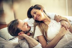 I love waking up to your handsome face. royalty free stock images