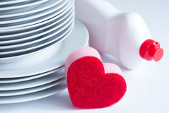 I love washing dishes Valentines abstract concept Stock Photos
