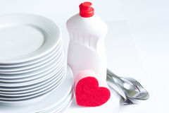 I love washing dishes Valentines abstract concept Stock Photo