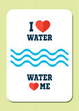 I love water. Water loves me. Retro poster with text, hearts and waves. Royalty Free Stock Image
