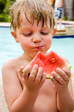 I love watermelon. royalty free stock image
