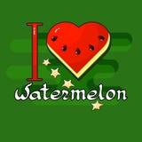 I love Watermelon. Heart, stars, handwritten word. I love Watermelon. Heart, stars, handwritten word  on green background. Vector illustration. Watermelon day Stock Photos