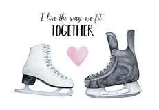 `I love the way we fit together` romantic card. royalty free illustration