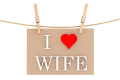 I Love Wife with heart hanging with clothespins Royalty Free Stock Photography