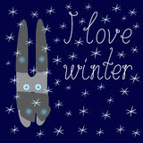 I love winter card with bunny Royalty Free Stock Image