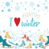 I love winter card decorated snowflakes and snow background. I love winter positive card decorated ice skates seamless border, cute snowflakes and snow on white Stock Image