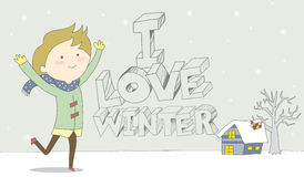 I Love Winter-Child enjoys snowfall. Cute cartoon illustration / EPS 10 Stock Photos