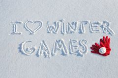 I love winter games written on snow. Background. Winter season concept stock photography