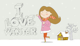 I love winter- Girl enjoys snowfall. Cute cartoon illustration / EPS 10 Stock Photos