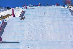 SOCHI, RUSSIA - FEBRUARY 21, 2014: Freestyle skiing track, Winter Olympics 2014. I love winter sports, the most interesting is to watch athletes who make bold Royalty Free Stock Photo
