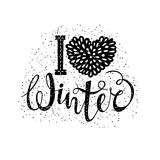 I love winter text element lettering. Seasonal shopping concept to design banners, price or label. Vector illustration Royalty Free Stock Photo