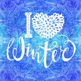 I love winter text element lettering on watercolor background. Seasonal shopping concept to design banners, price or. Label.  vector illustration Stock Images