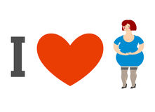 I love women. Heart and fat lady. Logo for ladies man Stock Image