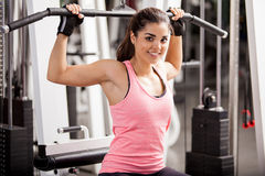 I love working out at the gym Stock Photo