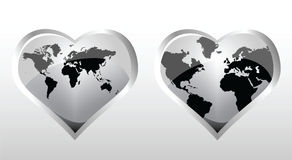I love the world. World illustrations in heart shapes Stock Images