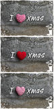 I Love Xmas Message Christmas Decoration Red Stripes Fabric Hear Stock Photo