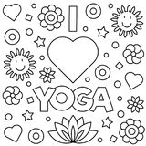 Coloring page. Vector illustration. I love yoga. Coloring page. Vector illustration Stock Photography