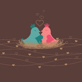 I love You. Among each other, wrapped in the heart of love birds nest Royalty Free Illustration