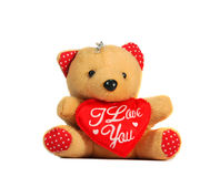 I love you. Love symbol teddy bear in white background Stock Photography