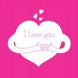 I love you. Cartoon heart with hands on textile pink background Royalty Free Stock Photography