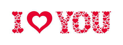 I love you. I heart you. Text made of small hearts. Vector valentine card Stock Photo