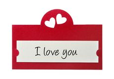 I love you. Card isolated on white background Royalty Free Stock Photo