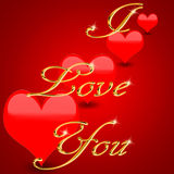 I love you. Illustration showing red hearts on red background with words I love you in gold Vector Illustration