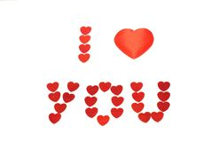 I Love you!. Little red hearts isolated on white background Royalty Free Stock Photo
