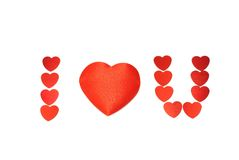 I Love you!. Little red hearts isolated on white background Royalty Free Stock Images