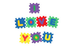 I Love You. Message I love you from letter puzzle, isolated on white Stock Images