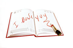 I love you. With a written agenda made with lipstick royalty free stock image