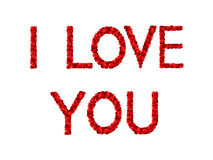 I love you. Words «I love you» in English made of red hearts Stock Photography