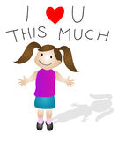 I love You. Valentine illustration, little girl holding out her arms, I love you this much above her head Stock Images