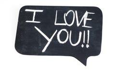 I Love You!!. On Cartoon Bubble Chalk Board Stock Image