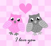 I love you. Illustration of two cute owls in love Royalty Free Stock Photos