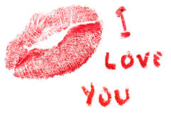 I love you. Message wrote with a lipstick with a kiss Royalty Free Stock Photos
