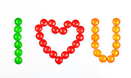 I love you. I love u spelled with candy Royalty Free Stock Photos