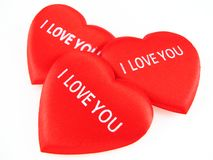 I love you. Three red hearts on the white background Stock Photography