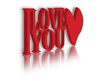 I Love You. Digital illustration of a I love you in red Royalty Free Stock Images