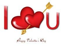 I love you. Message with an arrow through a heart vector illustration