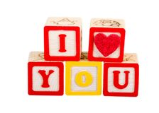 I Love You. In blocks on white royalty free stock images