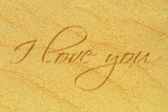I love you. A romantic love message on the sand Royalty Free Stock Photo