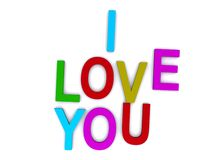 I love you. Colored letter spelling the words I Love You.  White background Stock Photography