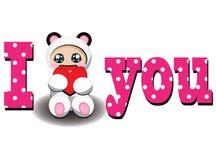 I love you. Card for you. Bear cub with heart Stock Photos
