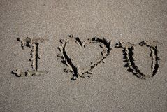 I Love You. Text Written on the Sand Royalty Free Stock Image