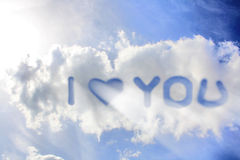 I love you. White clouds on blue sky Royalty Free Stock Image